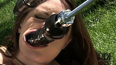 It's one of the hottest garden parties she's ever been to as she gets DP'd by the sybian