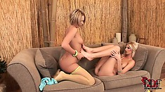 Girls in nylons can't wait to get really kinky in bed with each other