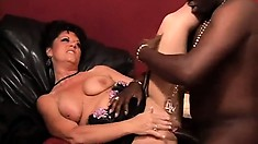 Lustful brunette cougar with a lovely ass De Bella can't resist a big black dick