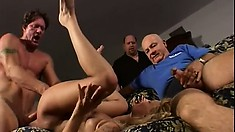 Mimi is in some weird group sex getting fucked, a creampie, a facial, and sucking
