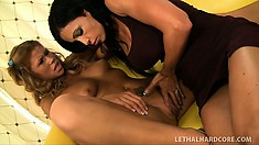 Crummy dark-haired pink girl is seduced by awesome lusty cougar
