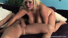 Kacey blows his meat and gets it slammed into her shaved cunt