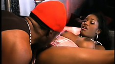 Winsome petticoat is gets her pussy kissed and fingered by guy in red cap