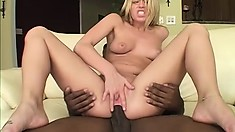 Lustful white girl with lovely tits surrenders her needy holes to a huge black dick