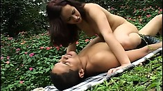 Beautiful Kenia takes her stud outdoors for some passionate anal sex