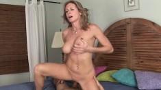 Horny cougar with big boobs Jade Jamison fucks a young guy's long cock