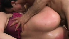 Curvaceous brunette gets her fiery ass fucked rough by a horny old man