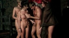 Horny king has a trio of gorgeous sluts pleasing his thick pole
