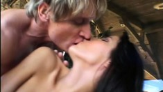 Admirable mature woman masses her fake tits and gets butt fucked