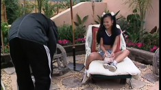 Petite Asian courtesan gets busted really hard by lusty log-splitter