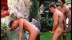 Three sexy gay friends on vacation enjoy lots of sucking and fucking