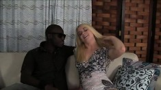 Hot slender blonde with nice tits impales herself on a huge black dick