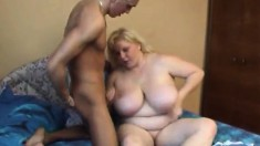 Huge breasted blonde lady Aby engages in hot sex with a younger guy